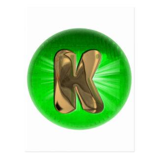 TAXI Gold Monogram K Green light Post Card