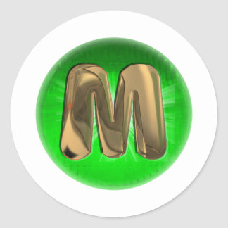 TAXI Gold Monogram M Green light Classic Round Sticker