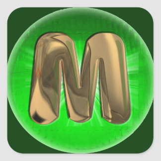 TAXI Gold Monogram M Green light Square Sticker