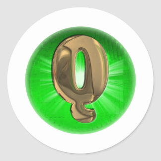 TAXI Gold Monogram Q Green light Classic Round Sticker