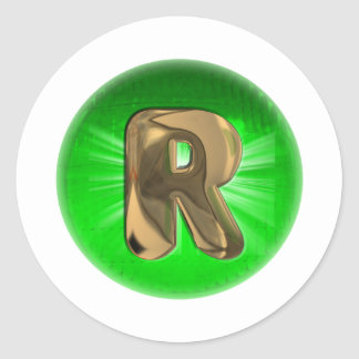 TAXI Gold Monogram R Green light Classic Round Sticker