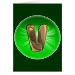 TAXI Gold Monogram V Green light Greeting Cards