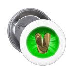 TAXI Gold Monogram V Green light Pinback Button