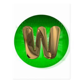 TAXI Gold Monogram W Green light Post Card