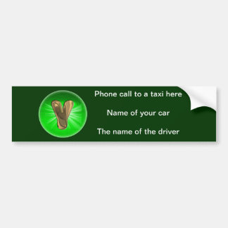 TAXI Gold Monogram Y Green light Bumper Sticker