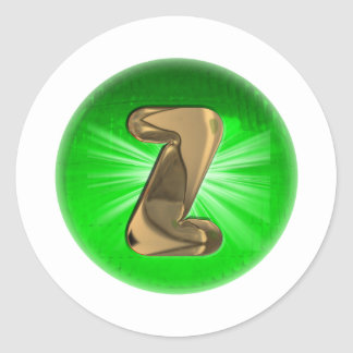 TAXI Gold Monogram Z Green light Classic Round Sticker