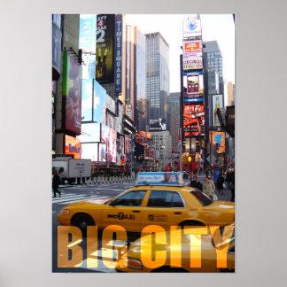 Taxi grande de la forma de vida de la ciudad de póster
