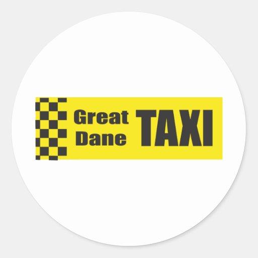 Taxi Great Dane Classic Round Sticker