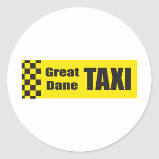 Taxi Great Dane Round Stickers