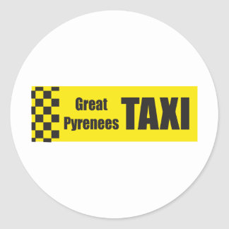 Taxi Great Pyrenees Classic Round Sticker