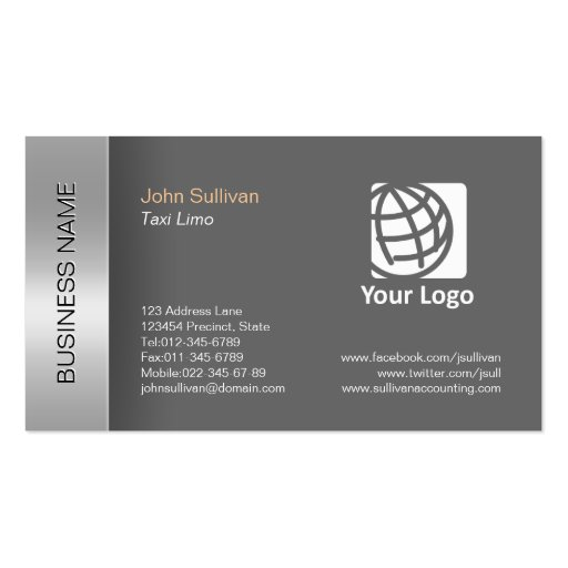 Taxi Limousine Business Card Elegant Grey Border