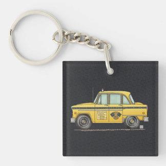Taxi lindo llavero cuadrado acrílico a una cara