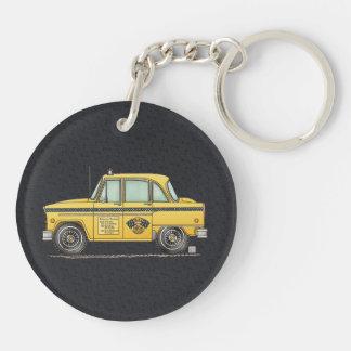 Taxi lindo llavero redondo acrílico a doble cara