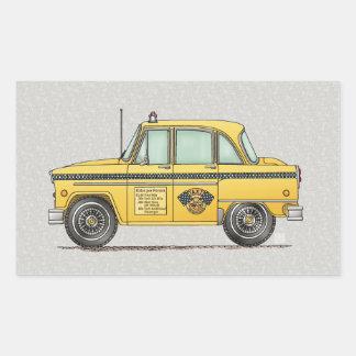 Taxi lindo pegatina rectangular