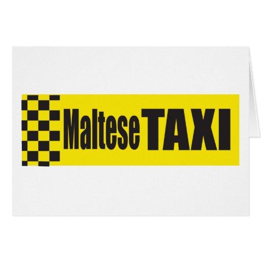 Taxi Maltese Greeting Card