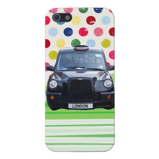 Taxi negro de Londres con los lunares coloridos iPhone 5 Carcasas