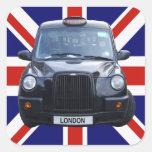 Taxi negro de Londres Pegatina Cuadrada