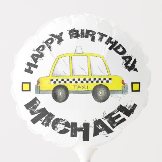 New York City NYC Checkered Yellow Cab Balloon