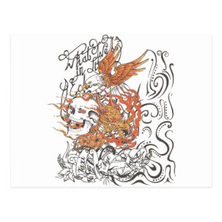 taxi nyc soul skull dragon eagle tattoo graphic postcard