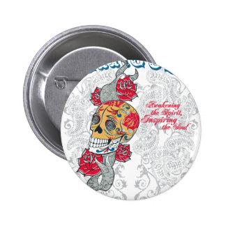 taxi nyc soul urban tattoo circus rose skull pinback button
