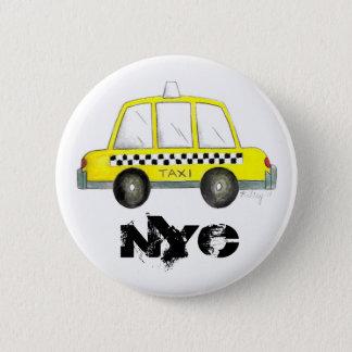 Taxi NYC Yellow New York City Checkered Cab Car Button
