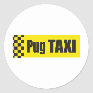 Taxi Pug Round Stickers