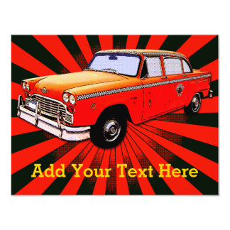 "Taxi retro de New York City Invitación 4.25"" X 5.5"""