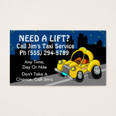 Taxi Service Business Card at Zazzle