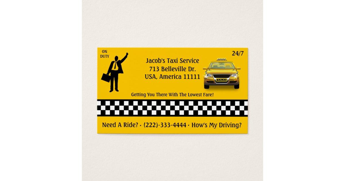 Taxi Service Business Card | Zazzle.com