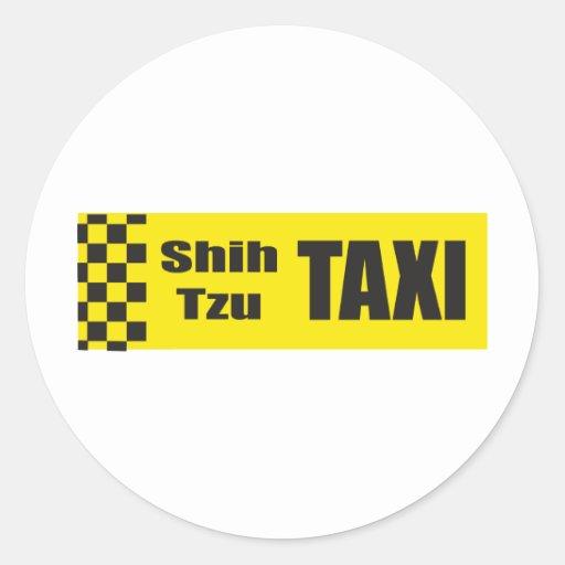 Taxi Shih Tzu Classic Round Sticker