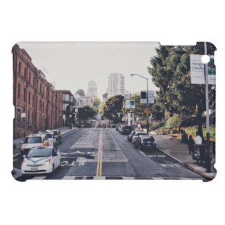 Taxi Themed, White Taxis And Parked Cars On A City Case For The iPad Mini