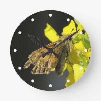 Taxiles Skipper Butterfly Round Wall Clock