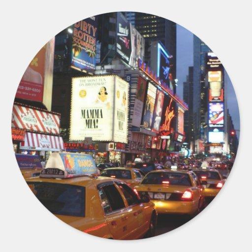 Taxis cuadrados del tiempo pegatina redonda
