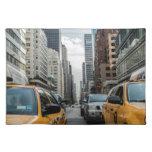 Taxis de Nueva York en la ciudad Manteles
