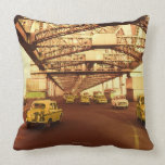 Taxi's on a Bridge Throw Pillow