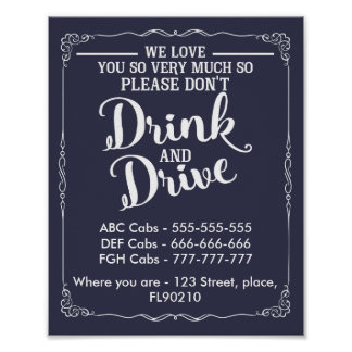 Taxis wedding sign dont drink and drive poster