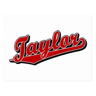 Taylor en rojo postal