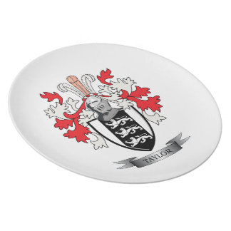 Taylor Family Crest Coat of Arms Dinner Plate