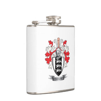 Taylor Family Crest Coat of Arms Flask