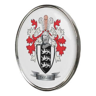 Taylor Family Crest Coat of Arms Golf Ball Marker
