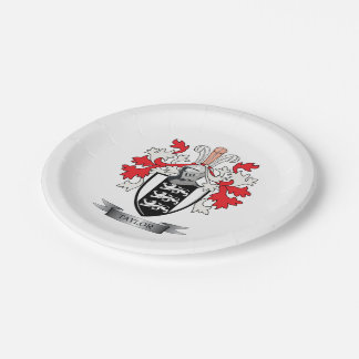 Taylor Family Crest Coat of Arms Paper Plate