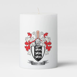 Taylor Family Crest Coat of Arms Pillar Candle