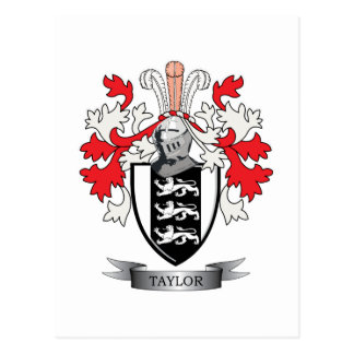 Taylor Family Crest Coat of Arms Postcard