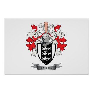 Taylor Family Crest Coat of Arms Poster