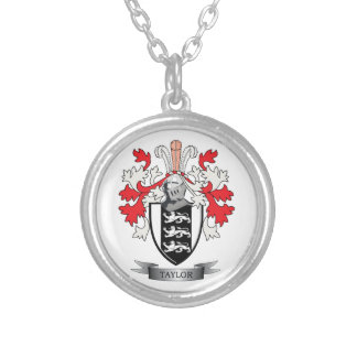 Taylor Family Crest Coat of Arms Silver Plated Necklace