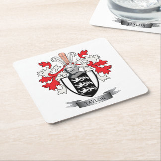 Taylor Family Crest Coat of Arms Square Paper Coaster