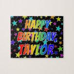"[ Thumbnail: ""Taylor"" First Name, Fun ""Happy Birthday"" Jigsaw Puzzle ]"