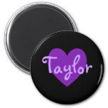 Taylor in Purple 2 Inch Round Magnet