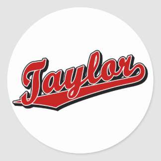 Taylor in Red Classic Round Sticker
