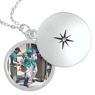Taylor Rice Weighs Out at Belmont Park Round Locket Necklace
